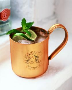 The Moscow Mule's famous copper mug